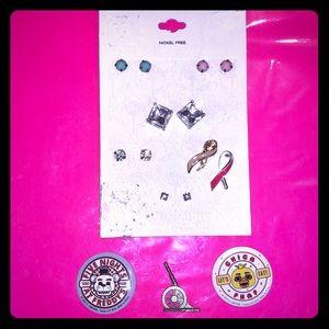 Target Earrings/Breast Cancer Awareness & Fnaf Pin